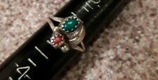Vtg SILVER TURQUOISE CORAL BABY PINKY RING Sz 3