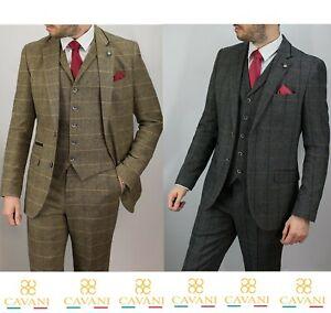 Mens Albert Vintage Check Tweed Peaky Blinders Wedding 3 Piece Suit By Cavani