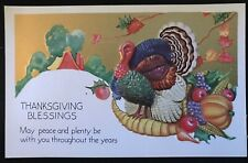 Thanksgiving Blessings~Postcard-Turkey with Pumpkin~Fruits~Unused-c78 0