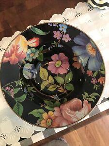 Mackenzie Childs Black Flower Market Large Serving Bowl Enamel EUC