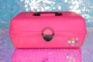 CABOODLES Makeup Case Tote Dark Pink Black Vintage 1980s 1990s Model 2602 B065