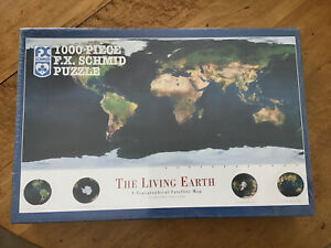 F.X. SCHMID PUZZLE 1000 PIECE THE LIVING EARTH. A topo satellite map- SEALED