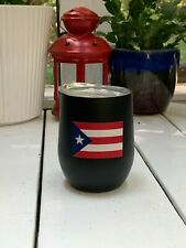 Bev Double Wall Steel 12oz Wine Glass Coffee Cup Mug Puerto Rico Flag