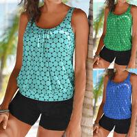Plus Size Womens Ladies Dot Print Tankini Swimsuit Beachwear Padded Swimwear US