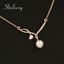 Elegant Pearl Pendant Necklace For Women Wedding Jewelry Rose Gold Statement