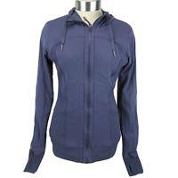 Lululemon Dance Studio CABU Cadet Blue Hooded Jacket Reversible Sz 2 Orig $128