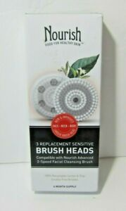 Nourish Facial Cleansing Replacement Sensitive Brush Heads 3 Count Box Advanced