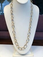 Vintage Necklace Twisted Gold Open Link Accent Long Sweater Style