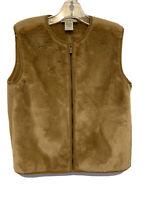 Banana Republic Women's Faux FurnVest Full Zip Jacket Size XS Pockets Brown