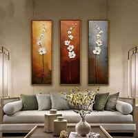 3tlg. LEINWAND BILDER KUNSTDRUCK WANDBILD ABSTRAKT BLUMEN Wand Gemälde Dekor Neu