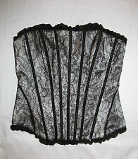 BEBE boned gothic nude and lace satin silk Victorian look corset bustier S NWOT