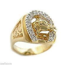 18K GOLD EP CZ ROUND CUT MENS LUCKY HORSE SHOE RING size 8-14 you choose
