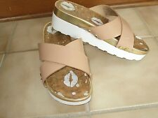 Juicy Couture Gold White Tan Strap SANDALS SLIDES SHOES 6 1/2 B M Sharp Comfort