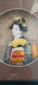 JAPANESE GEISHA GIRL WALL PLAQUE IN BOX FRAME 28CM X 28cm  NEVER HUNG UP