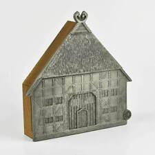 Schlüsselkasten - Schlüsselbrett - Holz & Zinn - Zinnrelief - Haus Fachwerkhaus