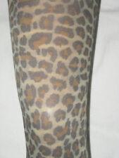 Estampado de Leopardo Opaco Sin Pies Medias. 8-12 de largo total. Punk Natural Marrón