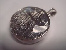 24mm Circle Star of David Natural Meteorite 925 Sterling Silver Pendant Crystal