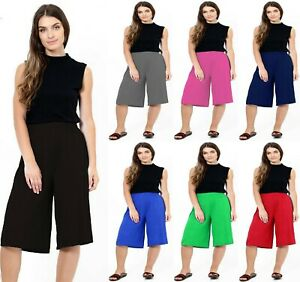 Women's Ladies 3/4 Length Short Palazzo Wide Leg Culottes Causal Trousers 8-26