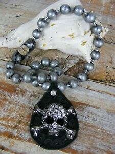 Black Leather Rhinestone Skull Pendant Choker Gunmetal Ball Chain OOAK
