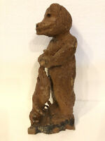 "Vintage Hand Carved Solid Wood Standing Bear Holding Prey Carving 13"" Figurine"