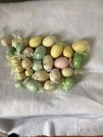 Lot Of 29 Speckled Mix Pastel Easter Plastic Ornaments Eggs  Satin Ribbon