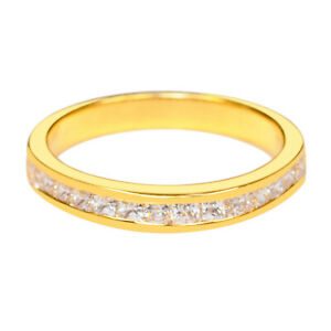 D-Color 1.25Ct Princess Shape With Accents Women's Band In Real 14KT Yellow Gold