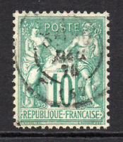 France 10 Cent Stamp (N under U) c1876 Used (7865)
