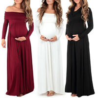 Pregnant Women Long Sleeve Off Shoulder Dress Formal Prom Maternity Photography