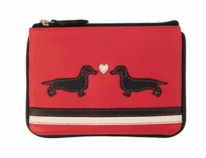 Large Leather Coin Purse Dachshund Dogs Design RFID Safe 2 Credit Card Slots
