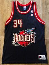 Vintage Champion Houston Rockets Hakeem Olajuwon Blue Basketball Jersey Size 44