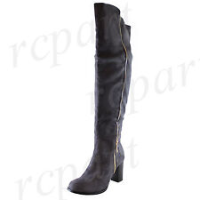 New fashion women's shoes over the knee boot side zipper Stiletto solid Gray
