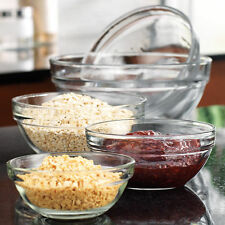 Glass Mixing Bowl Set Stackable Bowls Preparation Containers Kitchen Cooking 5pc