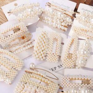 Pearl Hair Clips Slide Bridal Hair Accessory Geometric Snap Hairpins Barrette UK