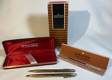 1970s Sheaffer Golden Vintage Grape Leaf 12K GF Ballpoint Pen/Pencil Set in Box
