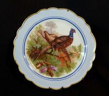 E très belle assiette ancienne porcelaine Limoges  faisan faisane sous-bois 25cm