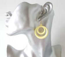 Pretty 4cm long pastel yellow lightweight acrylic -plastic hoop drop earrings