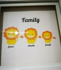 Personalised handmade family animal frame- lion with diamante mane-18x18cm