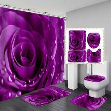Purple Rose Shower Curtain Bath Mat Toilet Cover Rug Love Bathroom Decor