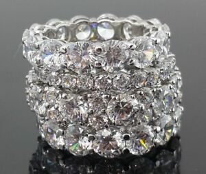 925 Sterling Silver cz White Round Shared Prong Eternity Band Women Ring Gift