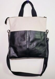 Coach Charles Perforated Leather White/Black Foldover Tote F57569 Handbag!