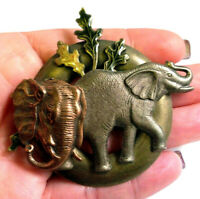 Vintage Metal Elephant Animal Brooch Pin 3 inch