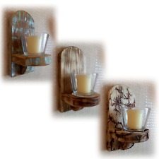 Rustic Wood Tea Light Candle Holder Wall Sconce Shabby Chic Scorched Fractal