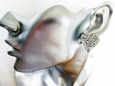 Fab Chunky Crystal Studded Heart Shaped STUD Earrings in Silver Tone