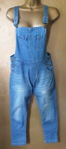 Size 8 washed out/distressed blue denim stretch Dungerees, skinny leg, pockets.
