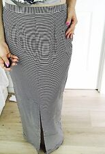 STAPLE WOMENS MAXI SKIRT STRIPED PART LINED BLACK Pockets WHITE WORK PARTY SZ 14