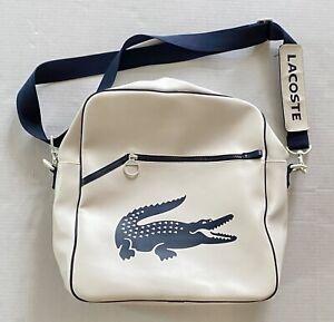 "LACOSTE White Navy Blue Crossbody Shoulder Bag 13""x14"""