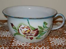 ANTIQUE French Enamelware Enameled steel  CHAMBER POT - rare pink IRIS pattern