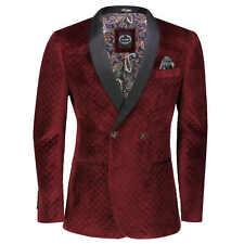 Men's Quilted Velvet Tuxedo Jacket Double Breasted Tailored Fit Dinner Blazer