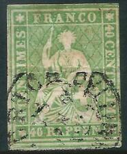 SWITZERLAND - 1855 40 Rp 'YELLOW-GREEN (Red Thread) SG 37 GU Cv £120 [A2778]*