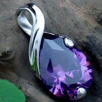 argenté dame la mode la pierre naturelle améthyste pendentif collier crystal